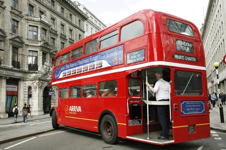 route master bus: London, UK - August 28, 2011: Route Master Bus for hiring in the street of London. Route Master Bus is the most iconic symbol of London as well as London Editorial