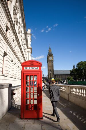 Big Ben and Red Phone Booth in Pariament Square in London