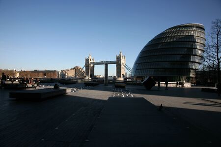 movable bridge: Tower Bridge and City Hall in the bright sunny day