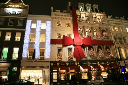 London, UK - December 16, 2010: Street Night View of Bond Street with Christmas Decoration. Bond Street is one of the most famous shopping street in London and also famous for it's beautiful Christmas Decoration.   Stock Photo - 10591805