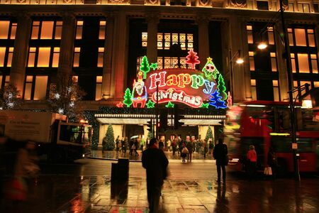 London, UK - November 21, 2010: Street Night View of Oxford Street with Christmas Decoration. Oxford Street is one of the most famous shopping street in London and also famous for it's beautiful Christmas Decoration.   Stock Photo - 10591798