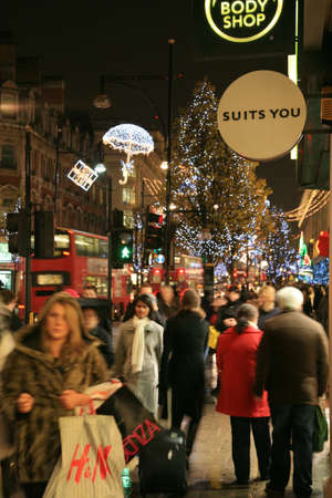 London, UK - November 21, 2010: Street Night View of Oxford Street with Christmas Decoration. Oxford Street is one of the most famous shopping street in London and also famous for its beautiful Christmas Decoration.