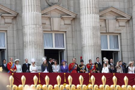 London, UK - June 17, 2006: Royal Family at the terrace of Buckingham palace at the end of Trooping the colour ceremony, also known as the Queens Birthday Parade.