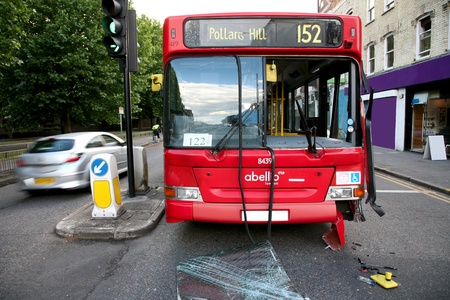 Bus appeared to be out of service after traffic accident around South Wimbledon
