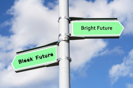 bright future: Street post with Bright Future, Bleak Future signs.