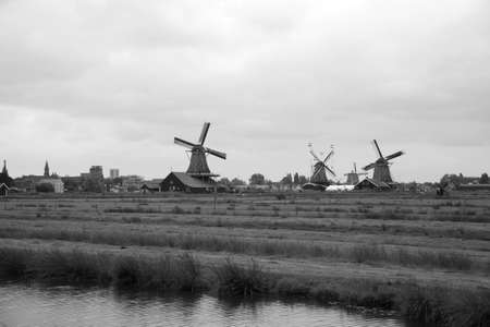 schans: Windmills of Zaanse Schans, North Holland. Zaanse Schans is famous for its collection of well-preserved historic windmills and houses
