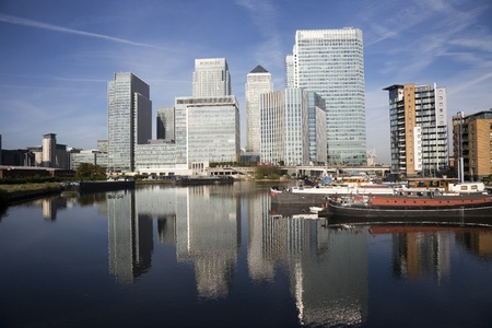 Office skyscrapers in Canary Wharf. Canary Wharf is the main financial district at London photo