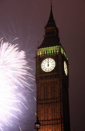 2011, Fireworks over Big Ben at midnight Stock Photo - 10912498