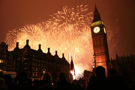 2011, Fireworks over Big Ben at midnight Stock Photo - 10912502