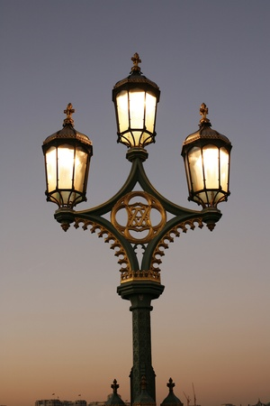 lampost: Lamppost at dusk on Westminster Bridge