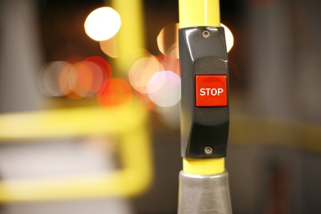 depart: Stop button on a London City Bus    Stock Photo