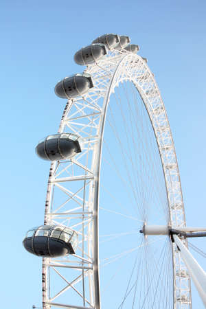 London, UK - June 03, 2011: View of the London Eye, a famous tourist attraction, seen from South Bank.