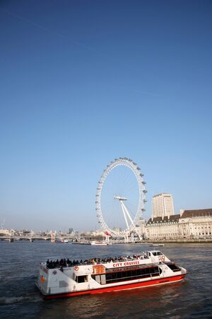 London, UK - March 04, 2011: View of the London Eye, a famous tourist attraction, seen from Westminster Bridge.