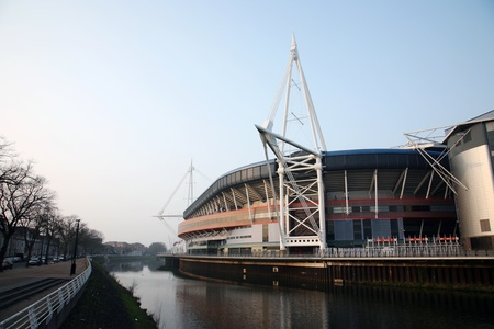millennium: Cardiff, UK - March 27, 2011: Outside view of the Cardiffs Millennium Stadium. The stadium opened in 1999 and now it is the home of the Wales national rugby team but also host to many other large scale events.