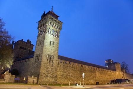 cardiff: Outside view of Cardiff Castle in Cardiff, Wales.  Editorial