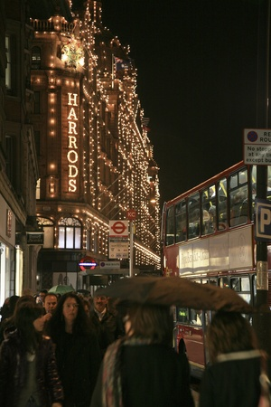 knightsbridge: London, UK - October 29, 2010 : Night View of Harrods department store in the Brompton Road, near Knightsbridge Tube Station. This department store was opened at 1824 and now it is one of the most famous luxury store in London.  Editorial