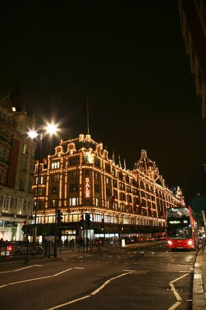London, UK - January 11, 2011 : Night View of Harrods department store in the Brompton Road, near Knightsbridge Tube Station. This department store was opened at 1824 and now it is one of the most famous luxury store in London.