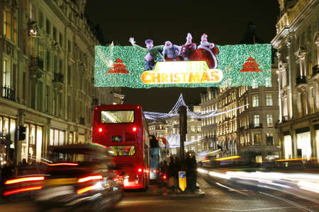 Street Night View of Oxford Street with Christmas Decoration. Oxford Street is one of the most famous shopping street in London.