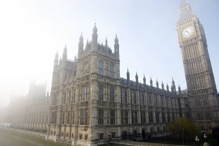 Palace of Westminster in fog seen from South Bank Stock Photo - 11411371