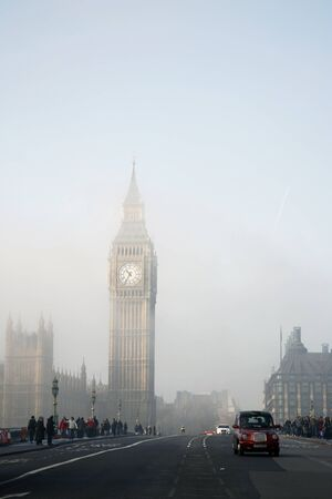 Palace of Westminster in fog seen from South Bank