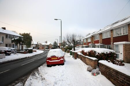 Snow covered street view in London photo