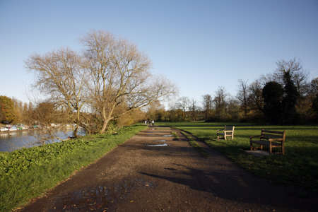 Public walk path, near Richmond, along the River Thames