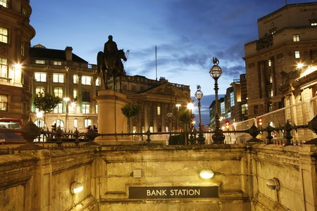 Night view of Bank region in London  photo