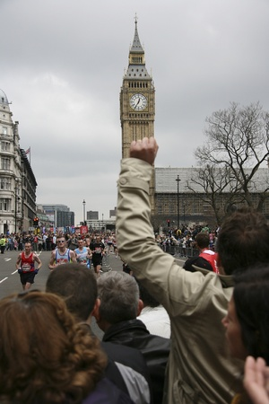majors: London, UK - April 25, 2010: Supporters watch and cheer thousands of marathon runners. The London Marathon is next to New York, Berlin, Chicago and Boston to the World Marathon Majors, the Champions League in the marathon.