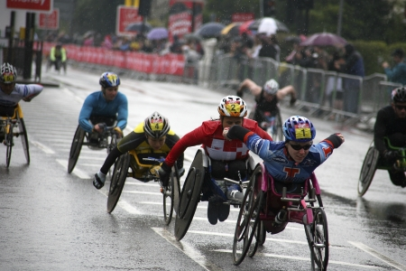 disabled sports: London, UK - April 25, 2010: Wheelchair racing contestants in the London Marathon. The London Marathon is next to New York, Berlin, Chicago and Boston to the World Marathon Majors, the Champions League in the marathon.