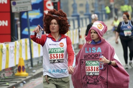 majors: London, UK - April 23, 2006: Participant in the London Marathon wearing funny costume. The London Marathon is next to New York, Berlin, Chicago and Boston to the World Marathon Majors, the Champions League in the marathon.