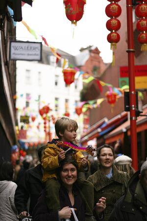 London, UK - February 18, 2007: Thousands of Visitors Line the Streets during the Chinese New Year Celebrations. Chinese New Year Celebrations is one of the most favorite annual London Events. Stock Photo - 11652054