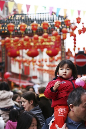 London, UK - February 18, 2007: Thousands of Visitors Line the Streets during the Chinese New Year Celebrations. Chinese New Year Celebrations is one of the most favorite annual London Events.