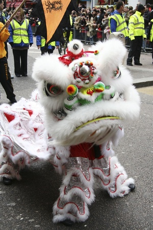 London, UK - February 18, 2007: Performers take part in the celebration of Chinese New Year. Thousands of Visitors Line the Streets Chinese New Year Celebrations is one of the most favorite annual London Events.