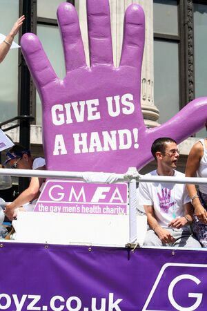 London, UK - July 01, 2006: People take part in the London's Gay Pride parade to support gay rights.   Stock Photo - 11652257