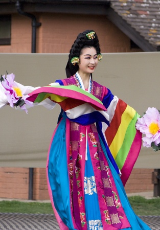 London, UK - August 15, 2009: Korean ethnic dancers perform, Taepyeongmu, dance to wish great peace, in the Korean Festival on August 15, 2009 in London, UK.   Stock Photo - 11653793