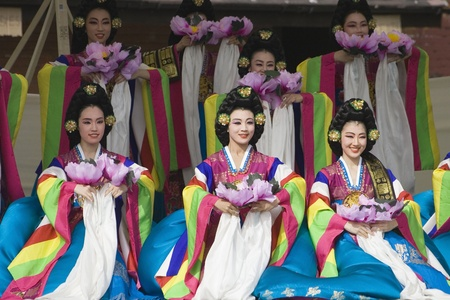 London, UK - August 15, 2009: Korean ethnic dancers perform, Taepyeongmu, dance to wish great peace, in the Korean Festival on August 15, 2009 in London, UK.   Stock Photo - 11653773