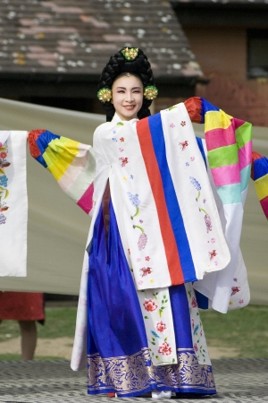 show folk: London, UK - August 15, 2009: Korean ethnic dancers perform, Taepyeongmu, dance to wish great peace, in the Korean Festival on August 15, 2009 in London, UK.
