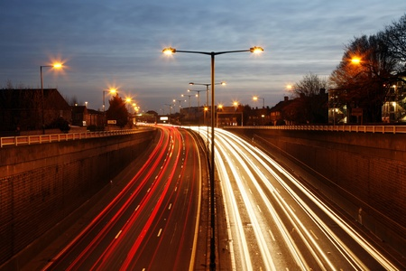 lampost: Traffic Road at Night. Long exposure of busy road at dawn.