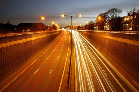 Traffic Road at Night. Long exposure of busy road at dawn.  photo