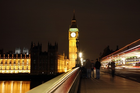 bigben: Palace of Westminster seen from Westminster Bridge at Night
