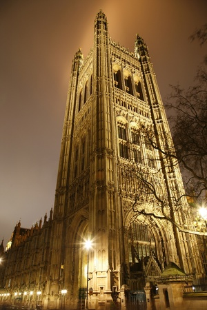 London Victoria Tower stands at the House of Lords end of the Palace of Westminster.  photo