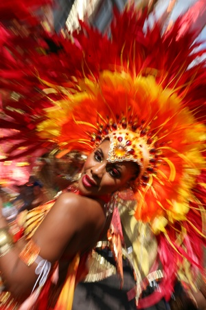 London, UK - August 30, 2010: Second day of 2010 Notting Hill Carnival. This is one of Europe's largest festival and parade take place for two days. First day is known as Children's Day.