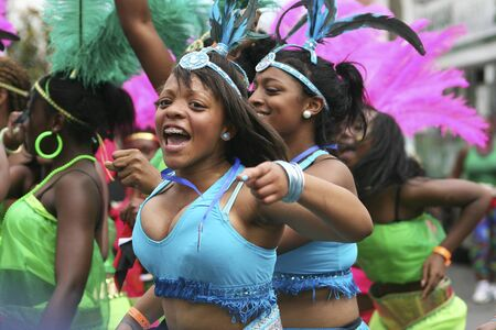 caribbean: London, UK - August 31, 2009: Performers take part in the second day of Notting Hill Carnival, largest in Europe. Carnival takes place over two days in every August.
