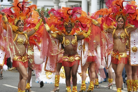 parade: London, UK - August 31, 2009: Performers take part in the second day of Notting Hill Carnival, largest in Europe. Carnival takes place over two days in every August.