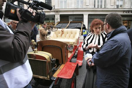 london to brighton veteran car run: London, UK - November 06, 2010: Display of vintage cars. Participants have interview about their old cars, Laurin Klement,  in Londons Regent Street on the day before the Run.