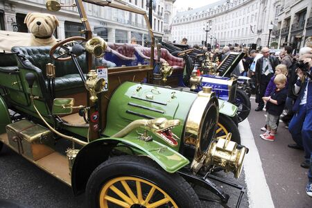 london to brighton veteran car run: London, UK - November 06, 2010: Display of vintage cars, Spyker, 1905. Some participants display their old cars in Londons Regent Street on the day before the Run.  Editorial