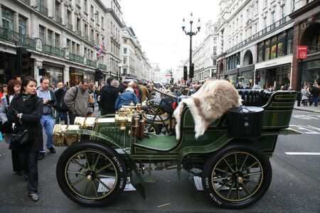London, UK - November 06, 2010: Display of vintage cars. Some participants display their old cars in Londons Regent Street on the day before the Run.