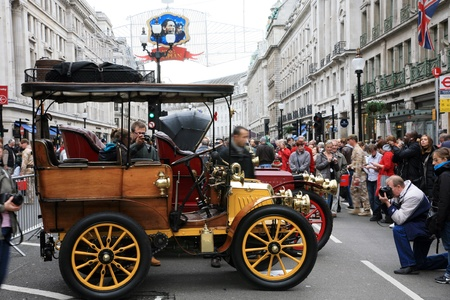 london to brighton veteran car run: London, UK - November 06, 2010: Display of vintage cars. Some participants display their old cars in Londons Regent Street on the day before the Run.  Editorial