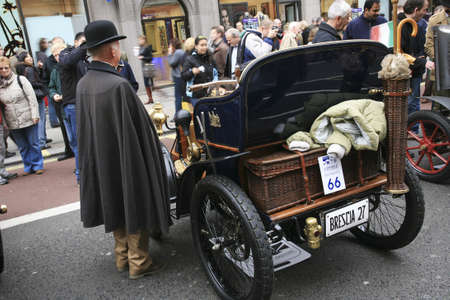 London, UK - November 06, 2010: Display of vintage cars, Georges Richard, 1900. Some participants display their old cars in Londons Regent Street on the day before the Run.