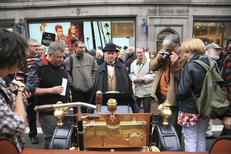 London, UK - November 06, 2010: Display of vintage cars, Georges Richard, 1900. Some participants display their old cars in London's Regent Street on the day before the Run.  Stock Photo - 11988089